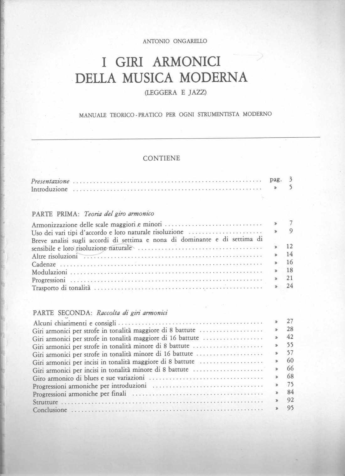 I Giri armonici della musica moderna Indice