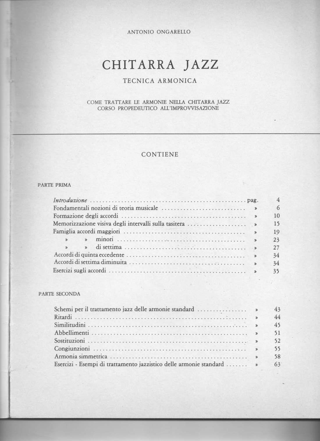 Chitarra jazz tecnica armonica Indice